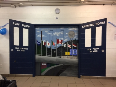 Marymount Students Paint Mural to Honour the Sudbury Blue Door Soup Kitchen!